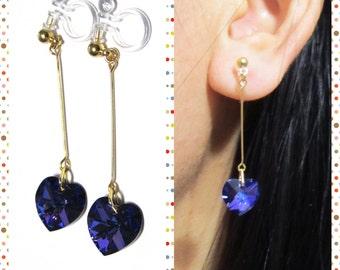 Vitrail Purple Swarovski Rhinestone Clip on earrings |7K| Heart Earring Non Pierced Earrings Wedding Clip On Earrings Bridal Clip On Earring