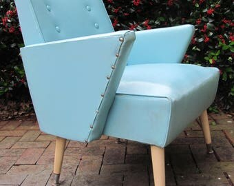 Vintage Aqua Mid Century Modern Angle Arm Lounge Chair