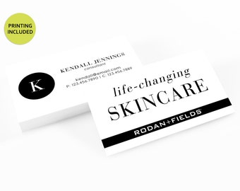 Rodan + Fields Printed Business Cards - business cards,business card design,custom business card,cards,printing,skincare,R+F,black and white