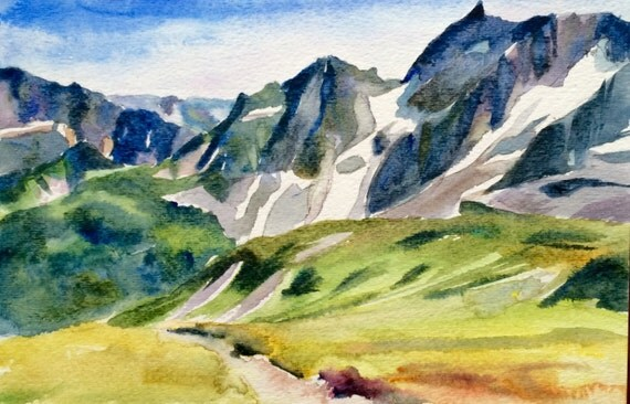 North Cascades, Mountain painting, watercolor landscape, Pacific Northwest art, Cascades, Mountain watercolor, Northwest landscape, mountain