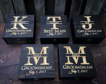 Groomsmen gift set 5-12 - Gift set- Wedding gift set Keepsake box-Groomsmen gift - Memory Box - Wedding gift - Rustic Wedding - Gift for him