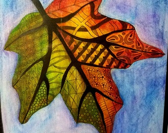 Tangled Autumm Leaf Colored with Pencil