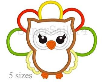 Thanksgiving Owl applique design, Owl applique design, Tahnksgiving applique design