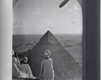 Canvas 24x36; Lz 127 Graf Zeppelin Over The Pyramids Of Giza Airship Dirigible