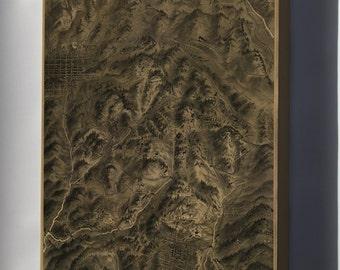 Canvas 24x36; Map Cripple Creek Mining District Colorado 1895