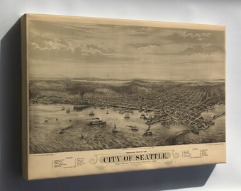 Canvas 24x36; Bird'S Eye View Map Of The City Of Seattle, Puget Sound, Washington Territory, 1878