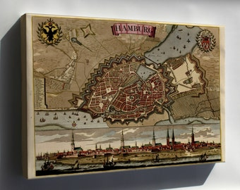 Canvas 24x36; Map Of Hamburg Germany 1709