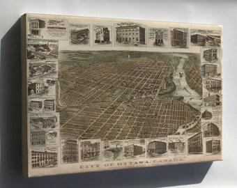 Canvas 24x36; Map Of Ottawa, Canada 1895