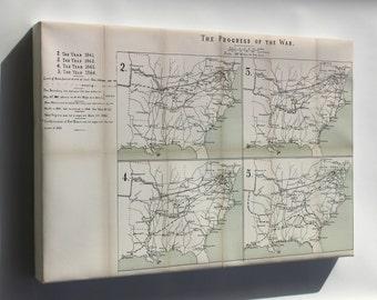 Canvas 24x36; Map Of Progress Of Civil War, 1861-1864