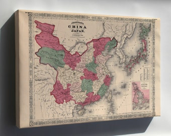 Canvas 16x24; Johnsons Map Of China And Japan 1869