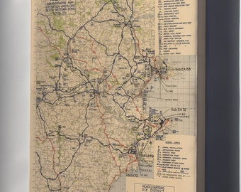 Canvas 16x24; Area 'K'  Administrative Map Devon, England Operation Overlord