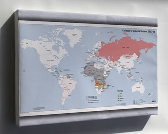 Canvas 16x24; Cia World Map Of Colonial System Collapse 1953-68
