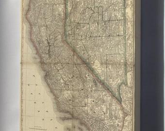 Canvas 16x24; Map Of California & Nevada 1881