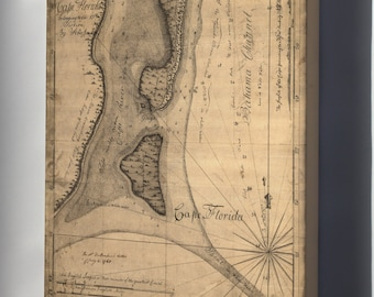 Canvas 16x24; Map Of Cape Florida 1765