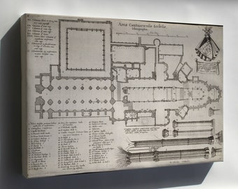 Canvas 16x24; Canterbury Cathedral Floor Plan 17Th Century