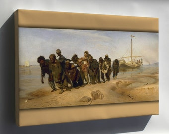 Canvas 16x24; Volga River Boatmen (1870-1873) By Ilia Efimovich Repin (1844-1930) -