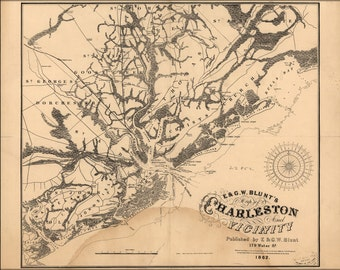 16x24 Poster; Map Of Charleston South Carolina 1862