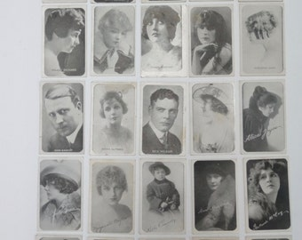 1920s Silent Movie Stars Trading Cards Set of 25