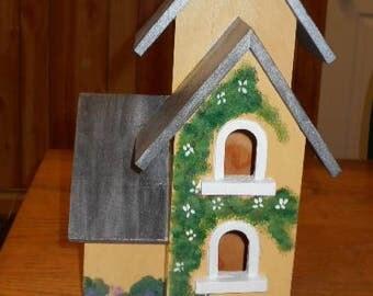Wood birdhouse, yellow birdhouse, outdoor birdhouse, folk art birdhouse, unique birdhouse, bird lovers gift,birdhouse decorative birdhouse