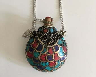 Beautiful Gypsy Tribal Locket/ Necklace, bohemian jewelry, bohemian necklace, coral, turquoise and lapis lazuli