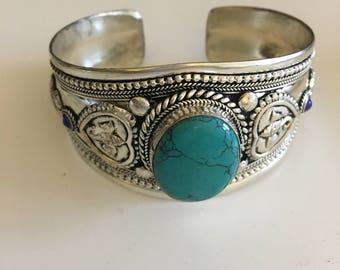 Unique, ethnique turquoise cuff bracelet, gypsy bracelet, bohemian jewelry