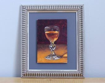 Whiskey Painting, original framed oil painting still life on board by Aleksey Vaynshteyn