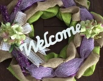 Spring Burlap Wreath - Burlap Wreath - Spring Wreath - Front Door Wreath - Purple and Green Wreath - Welcome Sign Wreath