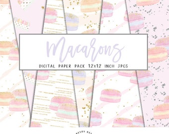 """Macarons Digital Papers, Sweet Pastel Hand Drawn Macarons Background Confetti Glitter Papers, 12"""" JPG Papers Instant Download, 6 Papers"""