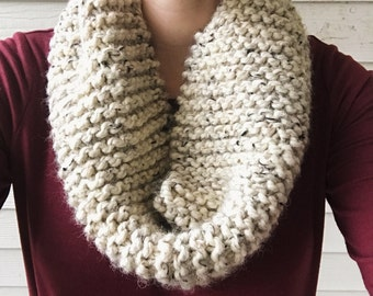 Knit cowl, chunky scarf, Wool Natural Brown Grey Scarves