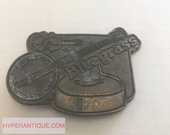 vintage belt buckle - bluegrass with instruments buckle