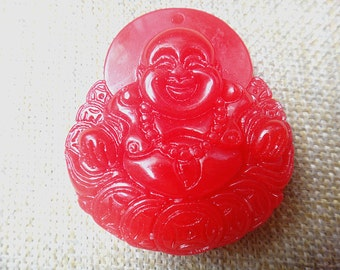 Red jade Buddha Pendant Amulet