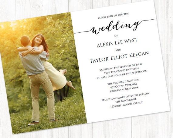 Customizable Wedding Invitation Templates: Wedding Photo Invitation Template INSTANT DOWNLOAD Self