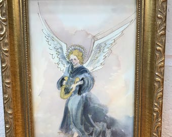 Watercolor angel with harp picture woth gold frame