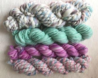 158g hand dyed, hand spun yarn pack