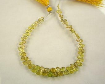 """Yellow tourmaline faceted heart beads AA 3-6mm 8"""" strand"""