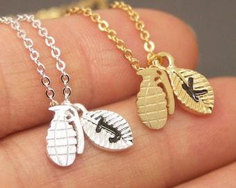 Grenade Necklace, Bomb Necklace, Hand Grenade Necklace, Initial Necklace, Personalized Necklace, Grenade Jewelry, Custom Necklace NB780
