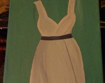 White Dress on Tiffany Blue Background Art Print