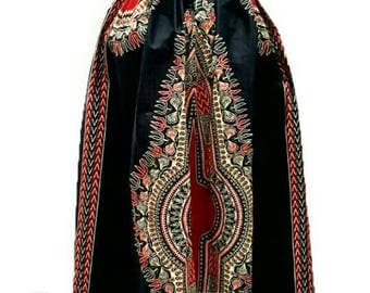 Black dashiki Maxi Skirt, African clothing , Ankara Maxi skirt
