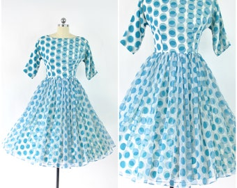 "Delighfully dotty 1950's polka dot dress  sz XS (B 32"" W 24"")  / Vintage 50's party evening dress /white & aqua chiffon with acetate lining"