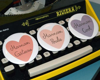 Pocket mirror round 75 mm to the mother with color heart and customizable nickname choice mother's day
