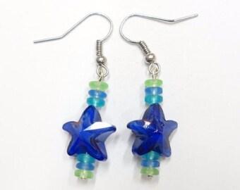 Earrings, Blue Swirl Glass Starfish