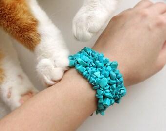 Blue turquoise stretch bracelet, Turquoise bracelet stretch, Beaded Gemstone bracelet, Genuine turquoise bracelet, Turquoise jewelry