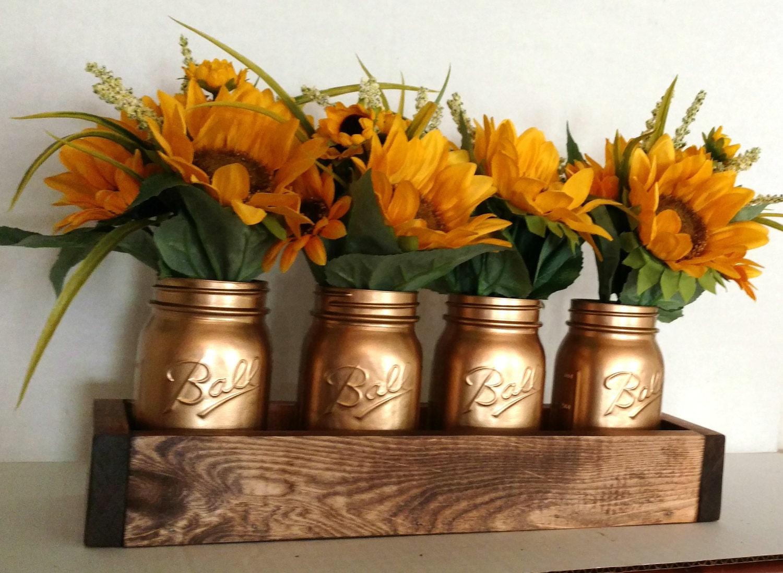 Gold Mason Jars Wedding Decor Wooden Table Centerpiece Rustic Wood Box