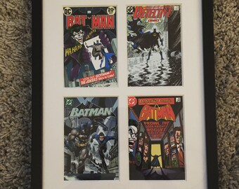 Framed Batman 2 x 2 print with Batman, Robin and Joker comic cover in black frame