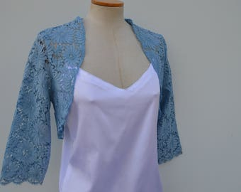 Cache shoulder lace bolero married, blue bolero, bolero lace embroidery