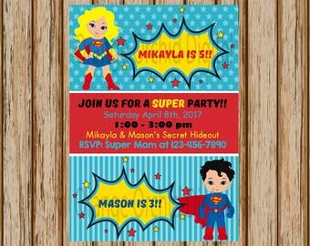 "Supergirl and Superman Birthday Invitations- Superman and Supergirl Birthday Party- Sibling Birthday Invitations- 5"" x 7"" size- Digital"