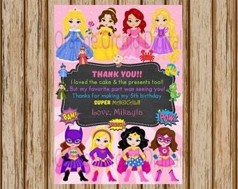 "PERSONALIZED- Girls Superhero and Princess Thank You Card- Superhero Thank You Card- Princess Birthday Thank You Card- 5"" x 7"" size- Digital"
