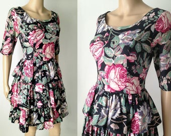Vintage LAURA ASHLEY Floral Roses Tiered Ruffle Cotton Dress Great Britain S
