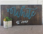 """Made to Order String Art Family Name Sign- calligraphy string art sign with family name and established date- 12"""" x 24"""""""