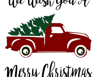 Red truck and Christmas Tree SVG File, Quote Cut File, Silhouette File, Cricut File, Vinyl Cut File